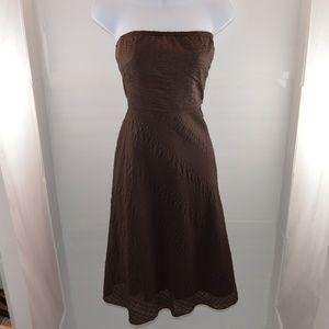 J. Crew Brown Textured A-Line Strapless Dress